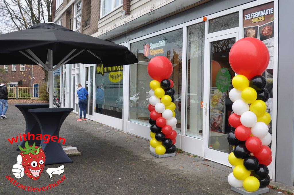 Ballonnen pilaar Rood/Zwart/Wit/geel