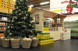 Houten marktkraam (kersthuisje)