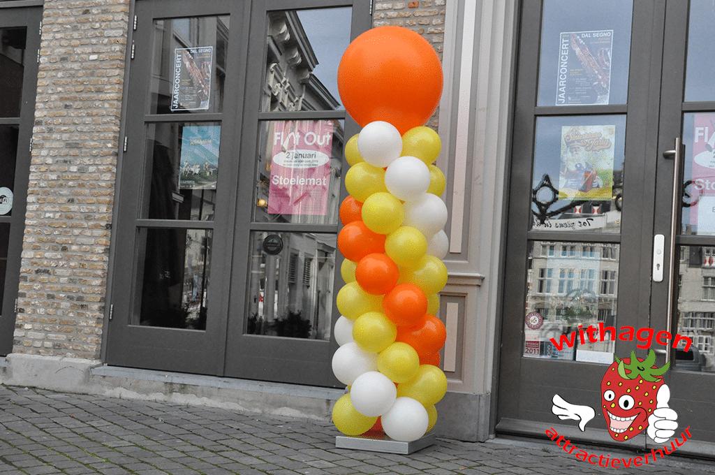 Ballonnen pilaar Wit/Oranje/Geel