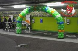 Ballonnen boog 8 meter groen/oranje/wit/blauw