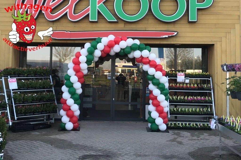 Ballonnen boog 6 meter Rood-Groen-Wit