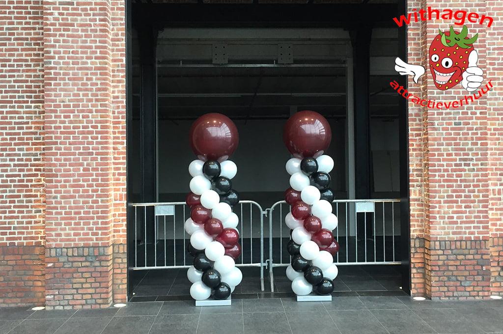 Ballonnen pilaar Rood/Zwart/Wit