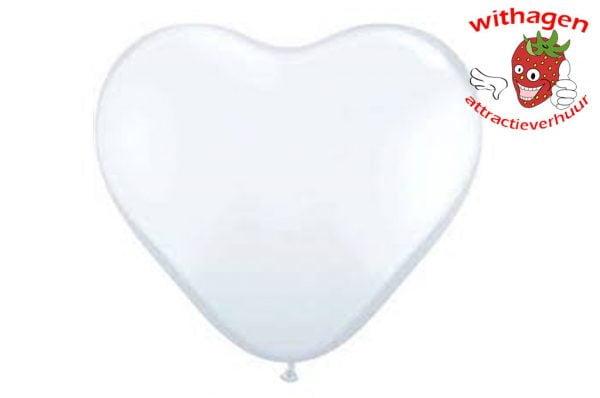Heliumballon Hartje Wit 11 inch (28 CM)