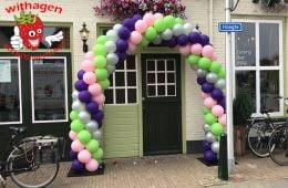 Ballonnen boog 6 meter ZilverLime-groen-Rose-Paars