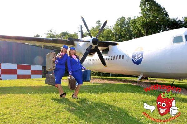 Vliegtuig met stewardessen