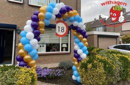 ballonnen boog 6 meter met paars goud wit en blauw
